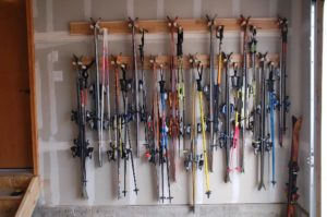 ski rack in garage